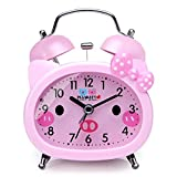 Plumeet Twin Bell Alarm Clock for Kids, Silent Non-Ticking Quartz Desk Bedside Loud Alarm Clock for Girls, Cute, Handheld Sized, Backlight, Battery Operated (Pink)