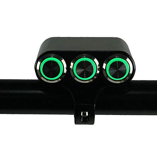HuiQing Zhang Motorfietsschakelaar 7/8 inch 22 mm Schakelaar voor montage op het stuur, gevaar, rem, mistrem, wekker, aan-/uitschakelaar, aluminium met LED-display