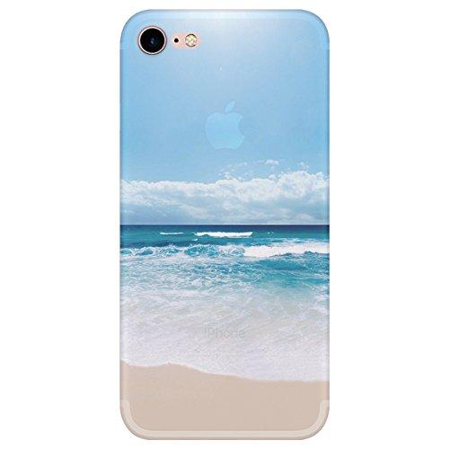 Caler - Carcasa para iPhone 7/8, transparente, silicona TPU, antiarañazos y antigolpes, diseño de playa azul
