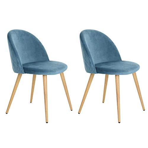Lot de 2 chaises/fauteuils de salle à manger & salon en velours bleu. Style Scandinave, pieds métal avec finition chêne clair
