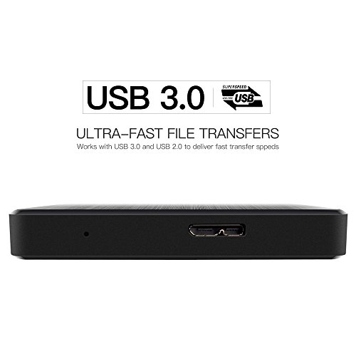 "KESU Ultra Slim Disco Duro Externo Portátil 2.5"" 500GB, USB3.0 SATA HDD Almacenamiento para PC, Mac, MacBook, Chromebook, Xbox, PS4 (Color Negro) miniatura"