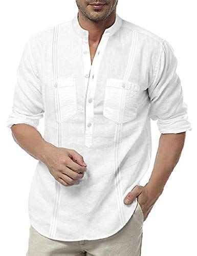 COOFANDY Men's Linen Henley Shirt Long Sleeve Casual Hippie Cotton Beach T Shirts
