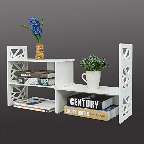 Expandable Openwork Desktop Bookshelf Organizer Shelving Unit White Matte Finish