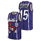 AGLT Camiseta de baloncesto para hombre, Raptors n#15 Carter de la NBA, para verano, al aire libre, casual, manga corta, azul, XL