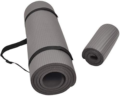 """BalanceFrom GoYoga+ Tapis de yoga multi-usage 1/2"""" extra épais haute densité anti-déchirure avec sangle de transport (gris)"""