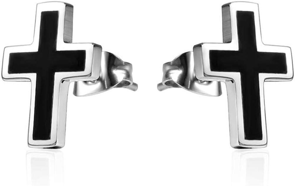 12mm Black Cross Studs Earrings Gothic Womens Overseas parallel import regular item for Stainless Austin Mall Mens