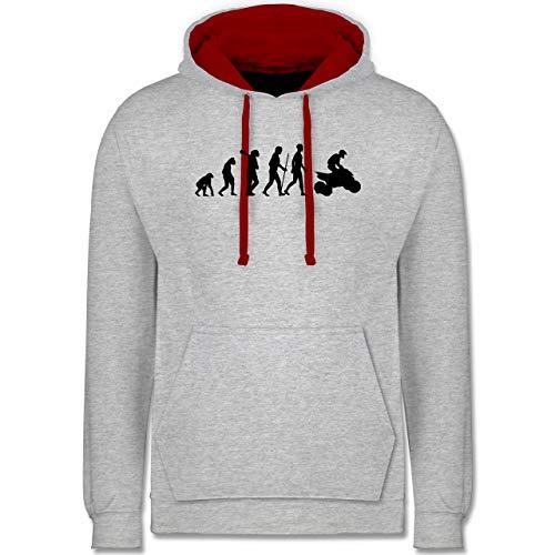 Shirtracer Evolution - Quad Evolution - L - Grau meliert/Rot - Geschenk - JH003 - Hoodie zweifarbig und Kapuzenpullover für Herren und Damen
