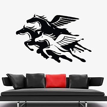 Calcomanía De Pared De Caballo, Alas Voladoras, Animales De Fantasía, Pegatinas Creativas Para Puertas Y Ventanas, Dormitorio De Niños, Decoración De Interiores, Art57X37Cm