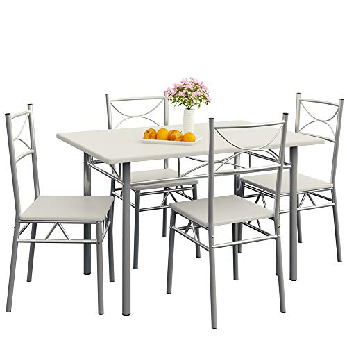 Casaria Set Tavolo e 4 Sedie da Soggiorno Bianco 5 pz Tavolo Arredamento Salone Cucina Sala da Pranzo Tavolo da Pranzo con sedie Cucina Moderno Set Tavolo e sedie