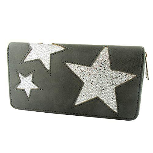 Dames portemonnee met sterren van polyurethaan en ronde ritssluiting.