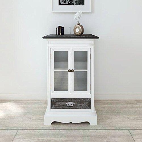 Deze kast met 2 deuren en 1 lade van wit hout is zeer robuust en duurzaam. keukenkast. Modern dressoir.