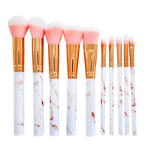 URSING 10 Pcs Pinceaux à maquillage Professional Foundation Blush Powder Eye shadow Blending Brushes Cosmetic Brush Kit - Marble Pattern (Pink)