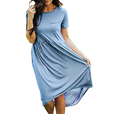 YFancy Summer Tank Dresses, Women's Casual Short Sleeve O-Neck Solid Knee-Length Dress Wirh Pockets