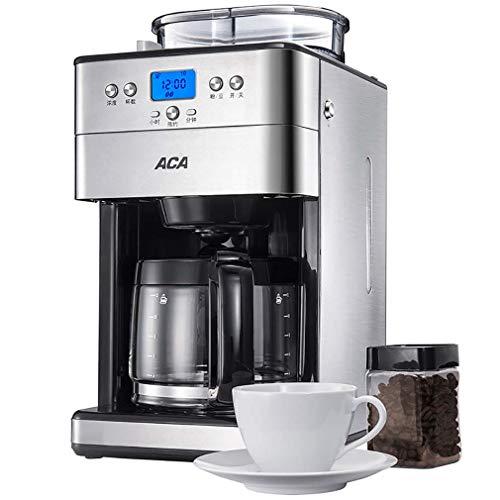ZHJIUXING KF Einfach zu verwenden Filterkaffeemaschine, Kaffeemaschine mit Mahlwerk, LCD-Display mit Auto-Start Timer, 1000 Watt, Edelstahl, großer 1,8 l Wassertank Ergonomisches Design