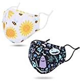 2 Pack 2 Ply Re-usable Cute Fashion Cloth Face Madks for Men Women, Breathable Adult Face Madks Washable with Adjustable Nose Wire and Ear Loops, Bee Flower/Halloween