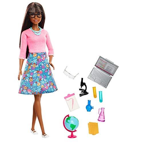Barbie GDJ35 GDJ35 - Muñeca Profesora con 10 Accesorios educativos, Incluyendo Globo Giratorio y Ordenador portátil, Juguete para niños