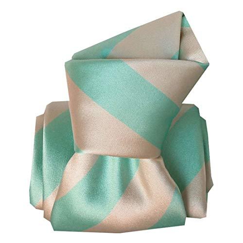 Segni et Disegni. Cravate artisanale. Club luxe, Soie. Vert, Club/rayé. Fabriqué en Italie.