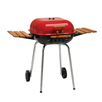 Americana Swinger Charcoal Grill with Two Side Tables, Red