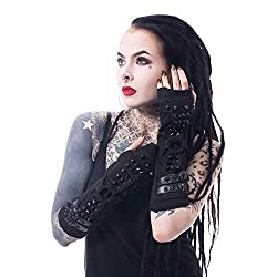 Poizen Industries Shadow Armwarmers Arm Warmers Punk Gothic Studs Buckles Gloves - Black