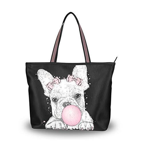 Woman Tote Bag Cute French Bulldog Shoulder Handbag for Work Travel Business Beach Shopping School