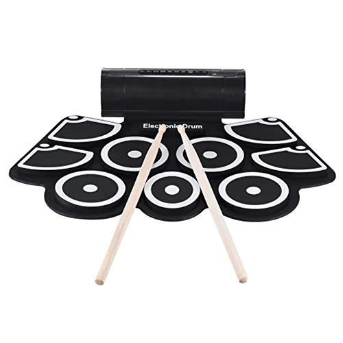 For Sale! Kids Muscial Toys Portable Electronic Rolling Drum Pad Set with Drumstick Foot Pedal 9 Sil...
