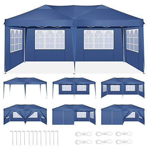 HOTEEL Carpa Plegable 3x6m Carpas y Cenadores Impermeable Cenador de Jardín Protección UV con 6 Paneles Laterales para Eventos al Aire Libre (3x6m con 6 Paneles Laterales, Azul)