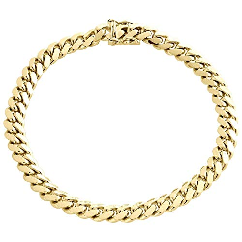 The Diamond Deal Mens Hollow 14K Yellow Gold Shiny Miami Cuban Link Chain Mens Bracelet with Secure Box-Lock Clasp (8.5', or 9 inch)