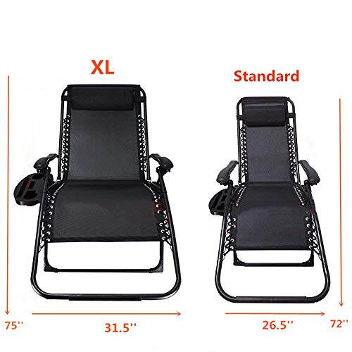 Ezcheer Oversized Zero Gravity Chair,Patio Lounge Chair 2 Pack w Cup Holder,Folding Office Beach Recliner XL 430 lbs Weight Capacity Garden Chair