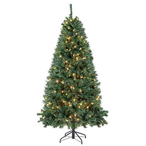 SALCAR Árbol de Navidad Artificial con Luces Led incorporadas 180cm,Árbol Artificial con 798 Puntas, Soporte para Árbol de Navidad, Navidad decoración Verde 1.8 m
