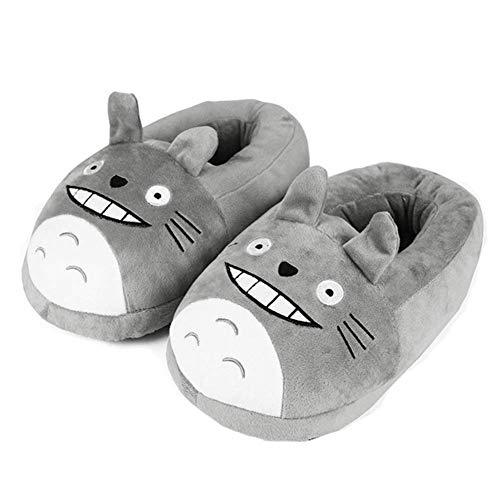 ZRSH Totoro Hausschuhe Damen Herren Winter Baumwolle Volle Fußbedeckung Pantoffeln Plüsch Wärme Indoor rutschfeste Slippers Unisex