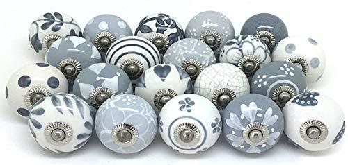 PUSHPACRAFTS - Pomelli in ceramica dipinti a mano, 25 pezzi, colore: grigio e bianco