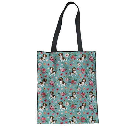 Nopersonality Mode 1 Stück Schulter Leinwand Baumwolle Stofftaschen Einkaufstaschen Jutebeutel Beagle Blumen Muster Blau