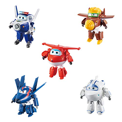 Super Wings - Transforming Characters Collector 5 Pack | Jett, Paul, Todd, Astra, Agent Chase | 5'' Scale | Fun Preschool Toy for 3 4 5 Year Old Boys and Girls | Airplane Toy Set for Birthday Gift