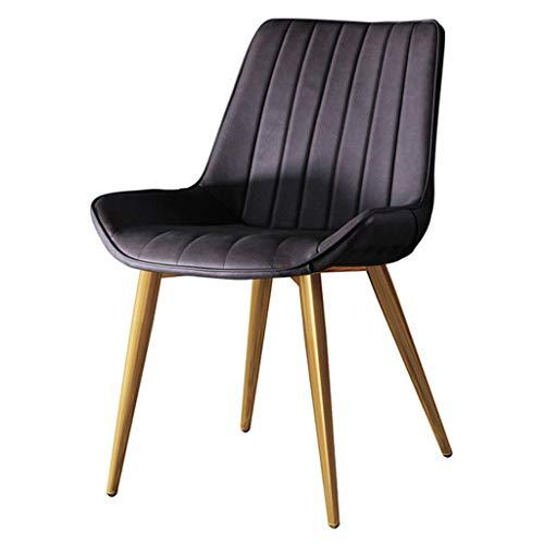 WSDSX Silla de Comedor, Almohadillas para apoyabrazos, Trona, Taburete sillas de Comedor Patas de Hierro de Metal Cuero de PU tapizado Suave Fuerte y Duradero