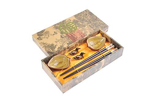 """Quantum Abacus: set de palillos chinos hechos de madera, diseño """"Peonia"""", viene con soporte para los palillos y cuencos de cerámica en una caja de regalo (un par de palillos, dos soportes y dos cuencos), CBS-S2-G-H03"""