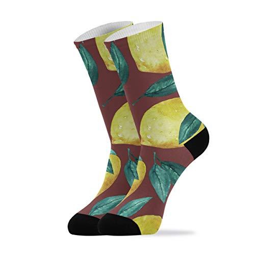 Calcetines casuales para hombre y mujer – Acuarela limón tobillo calcetines novedad algodón calcetines 1 par