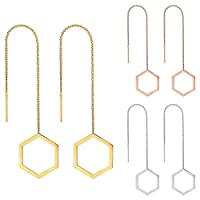 【Gion】アメリカンピアス ロング ステンレス チェーン 六角形 両耳 (シルバー)