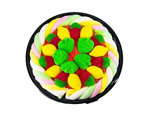 Tarta de chuches y golosinas 20 cm - Regalos originales para cumpleaños - Pastel de fresas, limones, manzanas, lenguas de pica pica y nubes.
