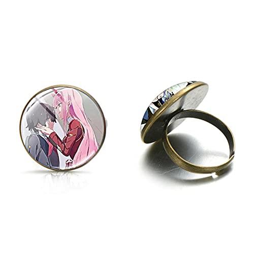 Songda anime querida en franxx cero dos anillos de moda personaje de dibujos animados foto vidrio cabujón anillo joyería señoras regalo
