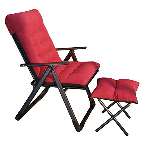 Folding Recliner Chairs, Home Office Conputer Desk Chair, Metal Frame, Outdoor Garden Camping Patio, Stable Durable, With Footstool(Color:Red)