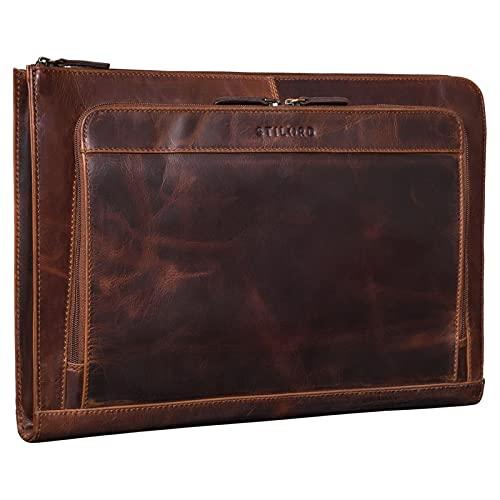 STILORD 'Murray' Custodia PC 15.6 Pollici in Pelle MacBook Sleeve 16 Pollici Vintage Portadocumenti Porta Fogli A4 Cartellina per Potratile Cuoio Genuino, Colore:florida - marrone