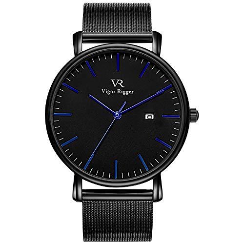 Vigor Rigger Herren Damenuhren ultradünne Armbanduhr Black Quartz Watch mit Datumskalender und blauem Zeiger aus Edelstahl-Mesh-Armband