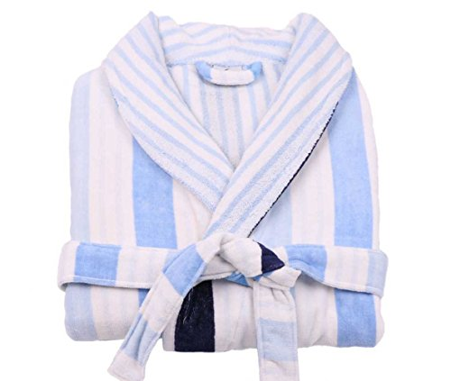 LASA Bademantel Classic Stripes, Typ Smoking Medium blau