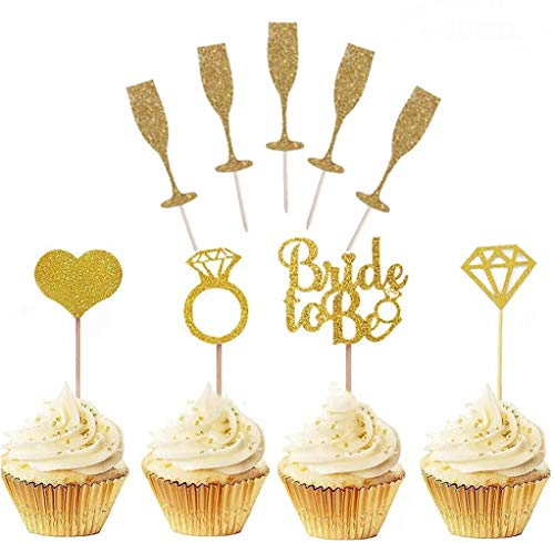 Dusenly 45pcs Bride to Be Cupcake Toppers Golden Glitter Wedding Cake Topper Picks Diamond Ring Wine Glass Cake Topper for Wedding Engagement Bridal Shower Decorations