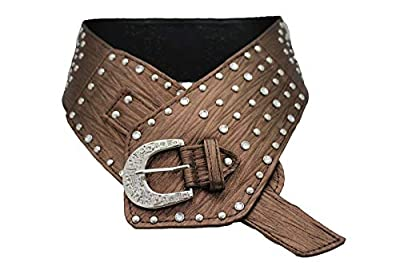 TFJ Women Wide Western Fashion Belt Hip Silver Metal Studded Buckle S M Brown