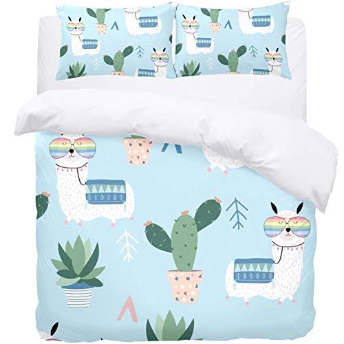 TIZORAX King Bedding Duvet Cover Set -Cute Llama Glasses Cactus 3 Piece Microfiber Comforter Set Quilt Cover and 2 Pillow Shams for Men Women