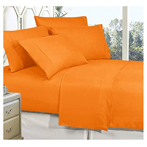 Celine Linen Best, Softest, Coziest Bed Sheets Ever! 1800 Thread Count Egyptian Quality Wrinkle-Resistant 4-Piece Sheet Set with Deep Pockets, California King, Vibrant Orange