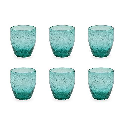 Villa d'Este Home Tivoli 2179967 Acapulco Bicchiere Acqua Set 6, Verde Smeraldo
