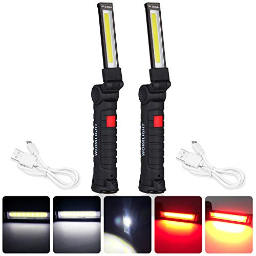 COB flashlight torch usb rechargeable led work light magnetic, COB led flashlight, magnetic flashlight with hook Folding light 360°Rotation, 5 light Modes for Car Repair, outdoor, Emergency use (2L)