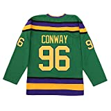 Kooy Charlie Conway #96 Mighty Ducks Movie Hockey Jersey (Medium) Green